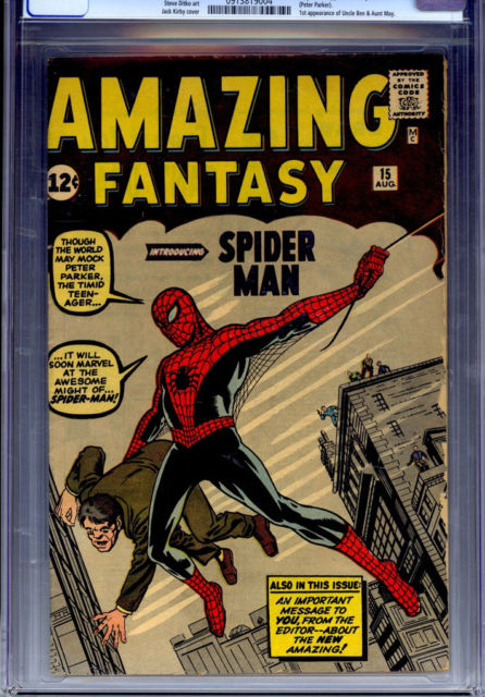 High Value Ebay Comics Auction For The Week Ending 2012 8 12 Amazing Fantasy 15 It S All Just Comics